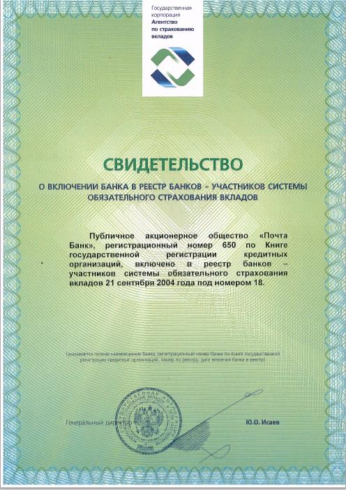 почта банк страхование вкладов